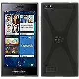 PhoneNatic Hülle kompatibel mit BlackBerry Leap - grau Silikon Hülle X-Style + 2 Schutzfolien