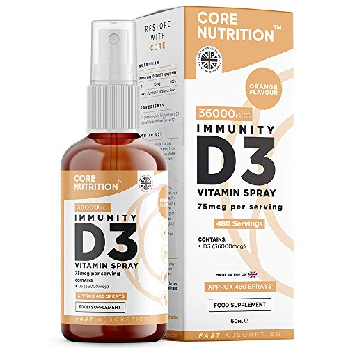 Core Vitamin D3 Spray | 3000iu (75mcg) Vitamin D3 High Strength | 60ml Gives 480 Day Supply | Natural Orange Vitamin D Spray by Core Nutrition