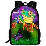 wobuzhidaoshamingzi Unisex Adult School Backpack Bunter Frosch und Schmetterling in der Galaxy Bookbag Casual Travel Bag