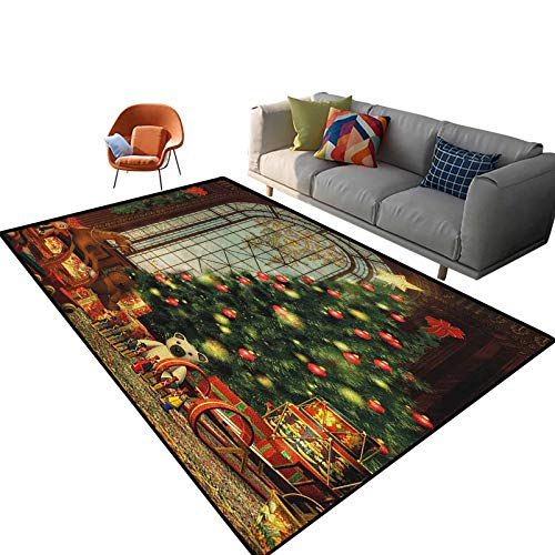 Christmas Outdoor Carpets Patio Magical Vintage Ambiance Big Old Fashioned Window Xmas Tree Various Presents Indoor Outdoor Kids Play Mat Nursery Throw Rugs 5.3'x 7.5'