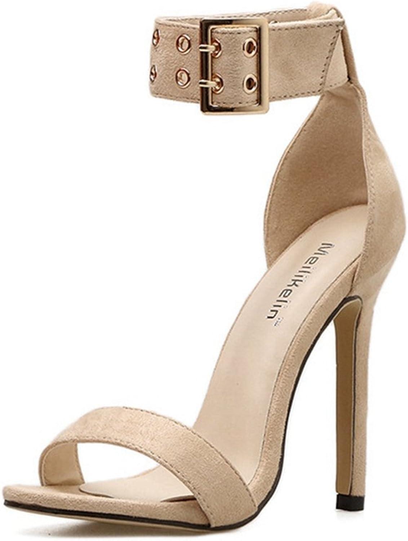 CYBLING Women's Stiletto Heels Open Toe Ankle Buckle Strap High Heel Evening Party Dress Sandal shoes