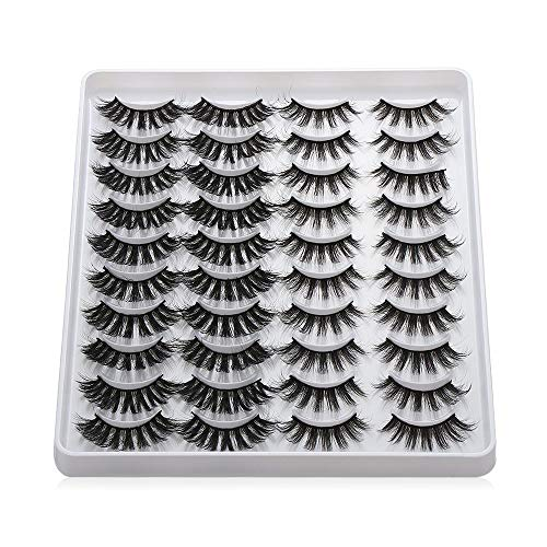 20 Pairs False Eyelashes Mixed Styles 3D Faux Mink Eyelashes Wispies Fluffy Natural Long Lashes Handmade Cruelty-free(201)