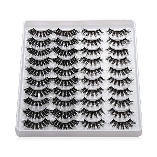 20 Pairs 3D Mink Eyelashes Handmade Makeup Mixed Styles Mink Lashes Natural False Eyelashes Long Eyelashes Extension Faux Lashes(201)