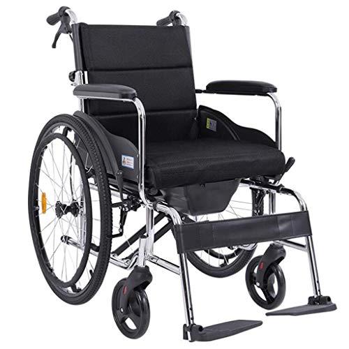 DSHUJC Rollstuhl faltbar, selbstfahrend mit verstellbaren Pedalen Nicht pneumatischer Reifen Waben Atmungsaktives Kissen Behinderter/Älterer Push Scooter (Farbe: Gra