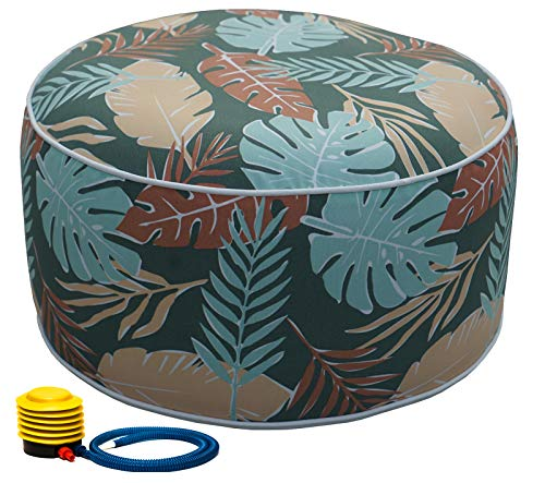 Kozyard Inflatable Stool Ottoman Used for Indoor or Outdoor, Kids or Adults, Camping or Home (Leaf Pattern)