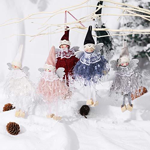 Makone Decoración navideña Original (Alas navideñas de Elfos y ángeles en Vestido con Flecos de Encaje) para árbol de Navidad navideño y Fiesta de cumpleaños y decoración del hogar, Fiesta(6 Piezas)