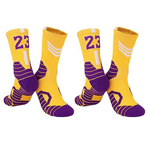 Calcetines de Baloncesto para Hombre, Calcetines Deportivos Lakers n. ° 23, Calcetines de Baloncesto de élite con número de Jacquard Transpirable y Transpirable de Tubo intermedio-C4-Large