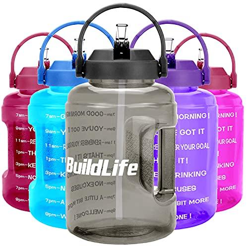 BuildLife Borraccia da 2,5 l, con indicazione del tempo, grande, senza BPA, ampia apertura con manico, riutilizzabile, a prova di perdite, colore: grigio, 2,5 l