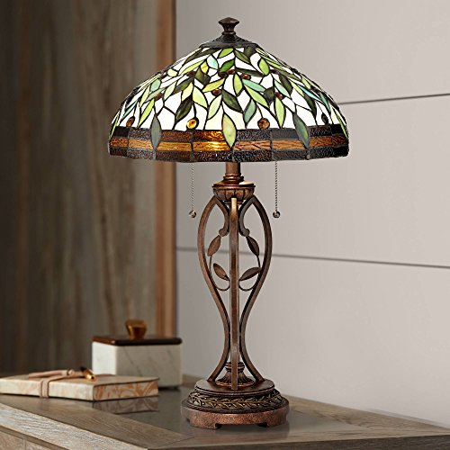 Traditional Table Lamp Blossoming Bronze Leaf and Vine Antique Glass Shade for Living Room Family Bedroom Bedside Nightstand - Robert Louis Tiffany