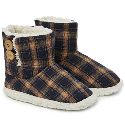 Dunlop Zapatillas Casa Mujer | Zapatillas Calienta Pies Invierno Cerradas | Pantuflas de Casa Regalo para Mujer | Botas Altas Forradas de Borreguito Suela de Goma Dura (42 EU, Azul Marino/Mostaza)