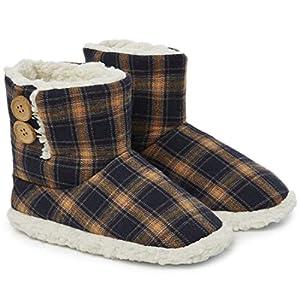 Dunlop Zapatillas Casa Hombre | Zapatillas Altas Calienta Pies Invierno Cerradas Hombre | Pantuflas de Casa | Zapatillas Forradas de Borreguito Suela de Goma Dura (42 EU, Azul Marino y Mostaza)