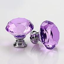 Deurknop Crystal Glass Meubelkast Knoppen Schroef Inbegrepen Lade Pull Handvat, Paars Woondecoratie Zilveren Basis 30mm 4 ...