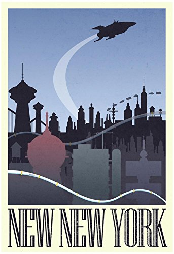 New New York Retro Travel Poster 13 x 19in