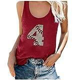 Blusa sin mangas para mujer, camiseta de béisbol, número 4, estampado, camiseta informal holgada, camiseta de verano, blusa, camiseta deportiva, camiseta de cuello redondo