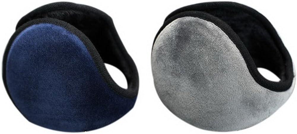 2 Pcs Warm Earmuffs Men's Winter Comfortable Plush Style Warmer Dark Blue + Gray