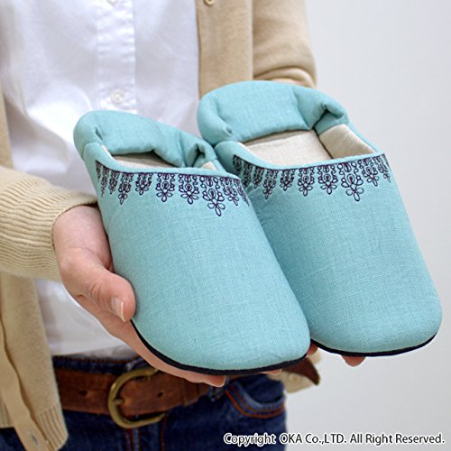 日本製洗える黒レース刺繍のルームシューズMサイズパープル