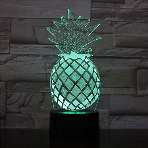 Nocturna Lámpara Luz De Noche De Piña Led 7 Colores 3D Lámpara De Ilusión Óptica Para...