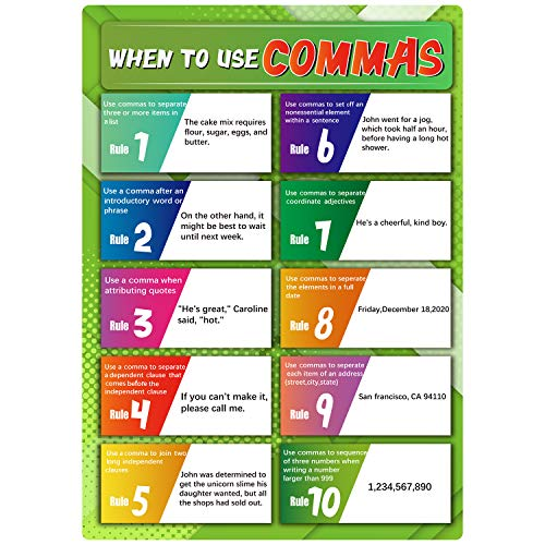 When to Use Commas- English Grammar Rules Poster for Middle School and High School with 20 Glue Point Dot,Language Arts Educational Wall Signs for Student Classroom or Home,16 x 11 Inch