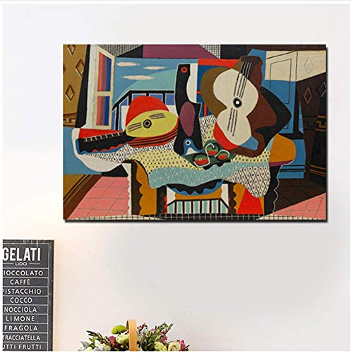 LangGe Pintura de la Lona 60x80cm Sin Marco Pablo Picasso Mandolina y Guitarra Carteles Impresiones Mármol Arte de la Pared Imágenes Decoración Moderna para el hogar