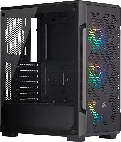 Corsair iCUE 220T RGB Airflow, Smart Case Gaming Mid-Tower ATX con Mid-Tower ATX con finestra in Vetro Temprato, iCUE 220T RGB, Nero
