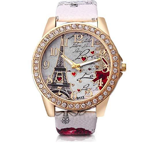 Hiinice Las Mujeres del Reloj Análogo del Movimiento del Cuarzo con Cuero Brazalete Torre Eiffel Patrón Dial Reloj De Pulsera (Blanco, Batería Incluida) Artículos Personales