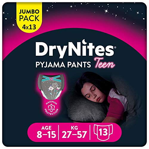 Huggies DryNites hochabsorbierende Nachtwindeln bei Bettnässen, für Mädchen 8-15 Jahre, 52 Stück, Monatspack, Windel-Pants