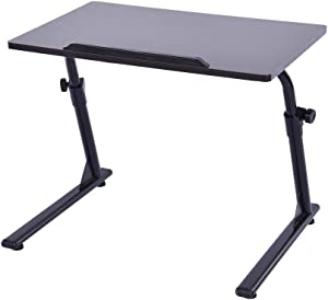 """Height and Angle Adjustable TV Tray Table, Laptop Desk, Folding Sofa Side Table (23.6"""" x 15.7"""" x 16.9""""-24.8"""") (Black)"""