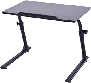 Ama-store Laptop Desk, Home Office Sofa Couch Side Table End Table, Laptop Notebook Stand, Table Height Adjustable Eating Reading Working Desk, 23.6 x 15.7x16.9-24.8 inches (Black)