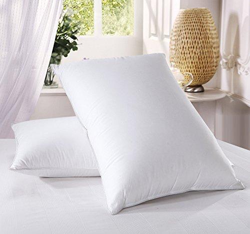Royal Hotel Medium Firm Down Pillow, 500 Thread Count 100% Cotton, KING DOWN PILLOWS, MEDIUM FIRM PILLOWS, Set of 2