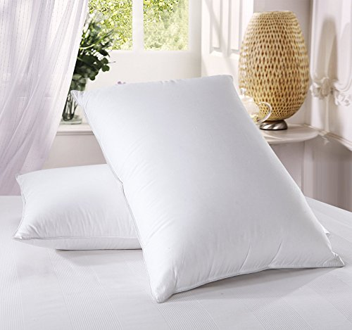 Royal Hotel Medium Firm Down Pillow, 500 Thread Count 100% Cotton, Standard Down Pillows, Standard/Queen Size, Medium Firm Pillows, Set of 2