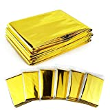 GPS 6 Pack Gold Emergency Mylar Blanket Space Blanket - 52' x 84' for Outdoors, Hiking, Survival, Marathons or First Aid
