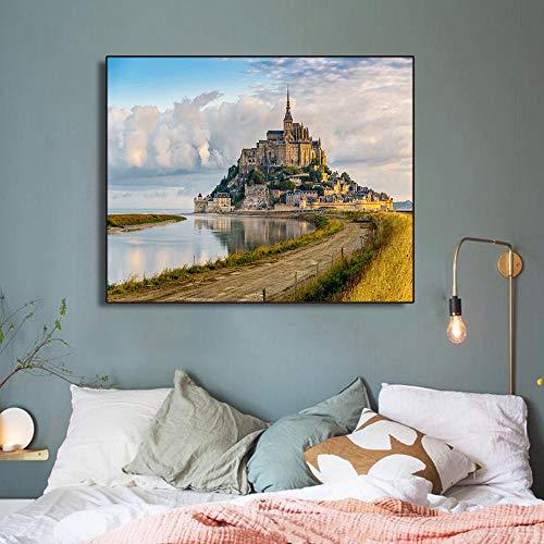 Leinwanddruck Gebäude Am Meer 50Cmx70Cm Kunstdruck Auf Leinwand Auf Wandbild Leinwandbild Plakat Leinwanddruck Geschenk Deko Für Schlaf- Und Wohnzimmer