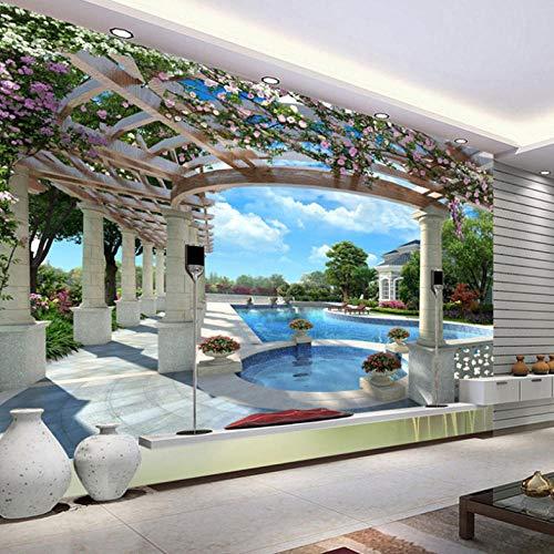 Tapeten 300X210Cm Villa Schwimmbad Blumen Vlies Tapeten Wandtapete Xxl Moderne Wanddeko Design Wand Dekoration Wohnzimmer Schlafzimmer Büro Flur