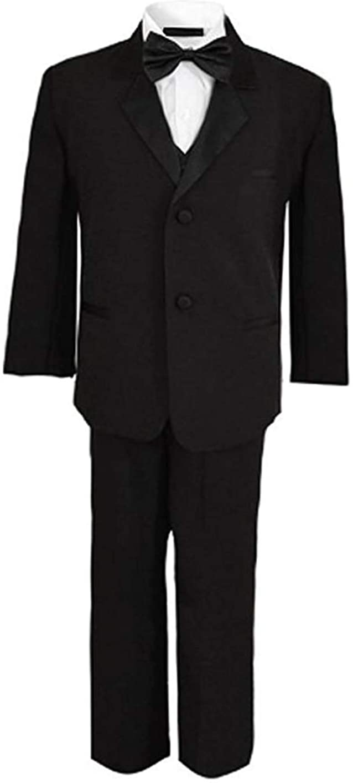 Rafael Boys Tuxedo with Vest, Shirt, and Bow Tie – Black or White