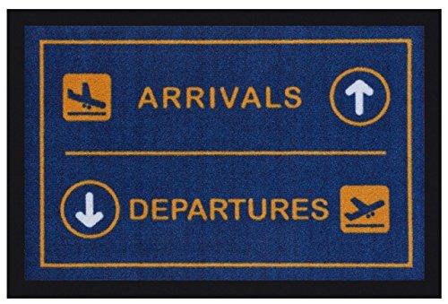 Fußmatte ARRIVALS DEPARTURES für Innen und Außen (40 cm x 60 cm) waschbar in blau