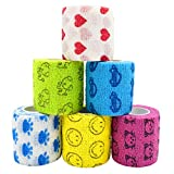 Stmandy Vet Tape wrap, wrap Bandage 2 inch 6 Rolls,Adhesive wrap Bandage for The Person or The Pets (cat,Dogs,Horse and Other Animal) who was injure or Have Wounds (Cartoon 6pcs)