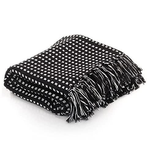 SHUJUNKAIN Manta a Cuadros 125x150 cm algodón Negra Casa y jardín Ropa de casa Ropa de Cama Mantas Negro