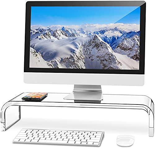 AboveTEK Monitorständer Bildschirmständer für PC/TV, Acryl Monitor Ständer Fernsehtisch für Schreibtisch Computer, Drucker, TV-Halterungen 52cm X 20cm