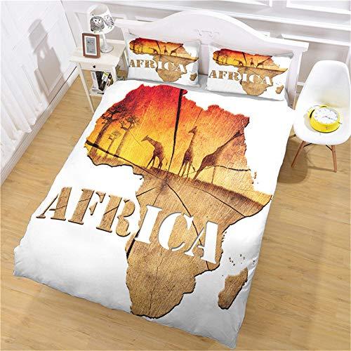 XTiFo& Tagesdecke Bettüberwurf Set 240X220Cm Bettbezug 3 Teilig Afrika Karte Giraffe Microfaser Bettwäsche Set Doppelbett Bettbezug Mit Reißverschluss Und 2 Kissenbezüge 80X80Cm