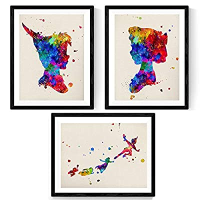 Nacnic Prints Peter Pan Tinker Bell - Set of 3 - Unframed 11x17 inch Size - 250g Paper - Beautiful Poster Painting for Home Office Living Room