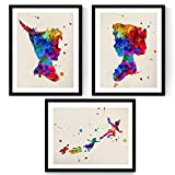 peter pan art - Nacnic Prints Peter Pan Tinker Bell - Set of 3 - Unframed 11x17 inch Size - 250g Paper - Beautiful Poster Painting for Home Office Living Room