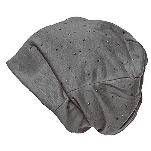 Brubaker Damen Beanie Mütze mit Glitzernieten anthrazit