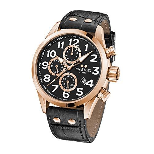 TW Steel Unisex Erwachsene Chronograph Quarz Uhr mit Leder Armband VS74