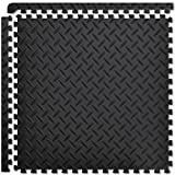 FIELDOOR トレーニング エクササイズ用ジョイントマット 【チェッカープレート柄/ブラック】 45×45×1.0cm 8枚セット 防音 キズ防止