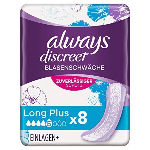 Always Discreet Inkontinenzeinlagen Long Plus (8 Binden) Diskreter Schutz & hohe Saugstärke, Geruchsneutralisierend