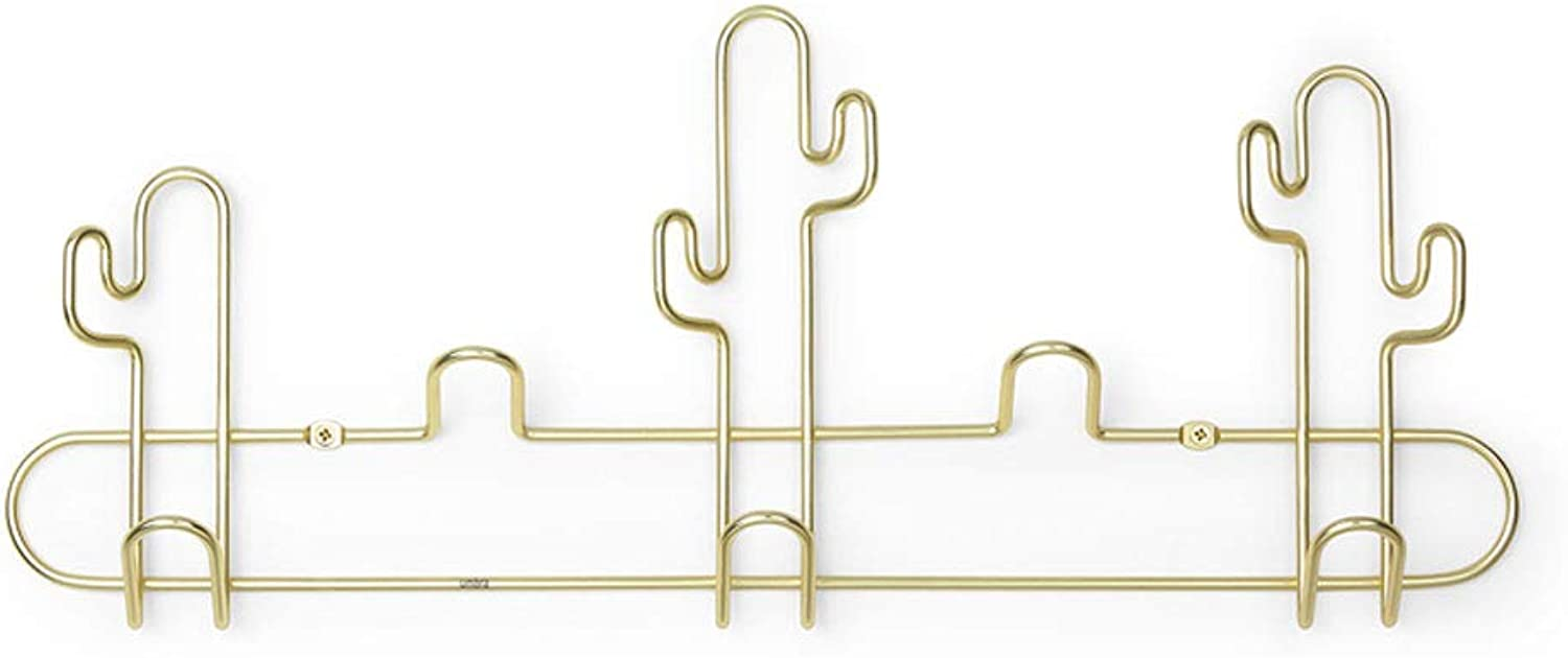 ZXW Coat Rack- Modern Minimalist Cactus Combination Hook, Bedroom Living Room Simple Rack Coat Rack (color   gold, Size   H18xW43cm)