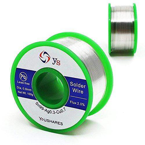 YOUSHARES 0,8 mm plomb libre fil de soudure avec âme de colophane pour la soudure de réparation électrique (Sn99/Ag0.3/Cu0.7, flux 2.0%, 0,22 lb, 93,5 ft)