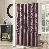 Madison Park Shower Curtain, Geometric Textured Tufted Design Modern Mid-Century Bathroom Decor, Machine Washable, Fabric Privacy Screen, 72x72, Plum Violet