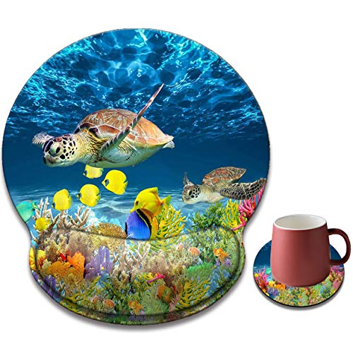 Ergonomic Mouse Pad with Gel Wrist Rest Support, Non-Slip Rubber Base for Computers, Laptops, Home, Office and Games, with Coaster (Colorful Fish Coral Beach-Wrist)