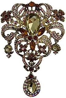 TTjewelry Classic Style Flower Drop Brooch Pin Rhinestone Crystal Pendant